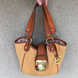 Michael Kors straw leather shoulder tote
